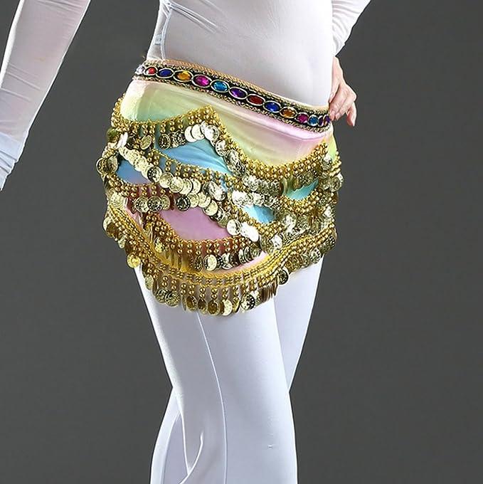 YuanDian Donna 328 Monete Diamante Artificiale Triangolo Danza Del Ventre Cintura Pareo Sciarpa Scialle Colorato Filato Professionale Tribale Egiziano Belly Dance Orientale Catena Vita