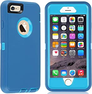 GreatCase Compatible with iPhone 6 Case iPhone 6s Case Built-in Screen Protector Shockproof Heavy Duty Durable 3 in 1 Cover Drop-Proof Scratch-Resistant Protective Hard Cases 4.7 inch Blue