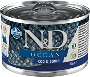 Farmina N&D Ocean Sea Bass and Squid for Adult Mini-Breed Dogs 4.9 Ounces, case of 6