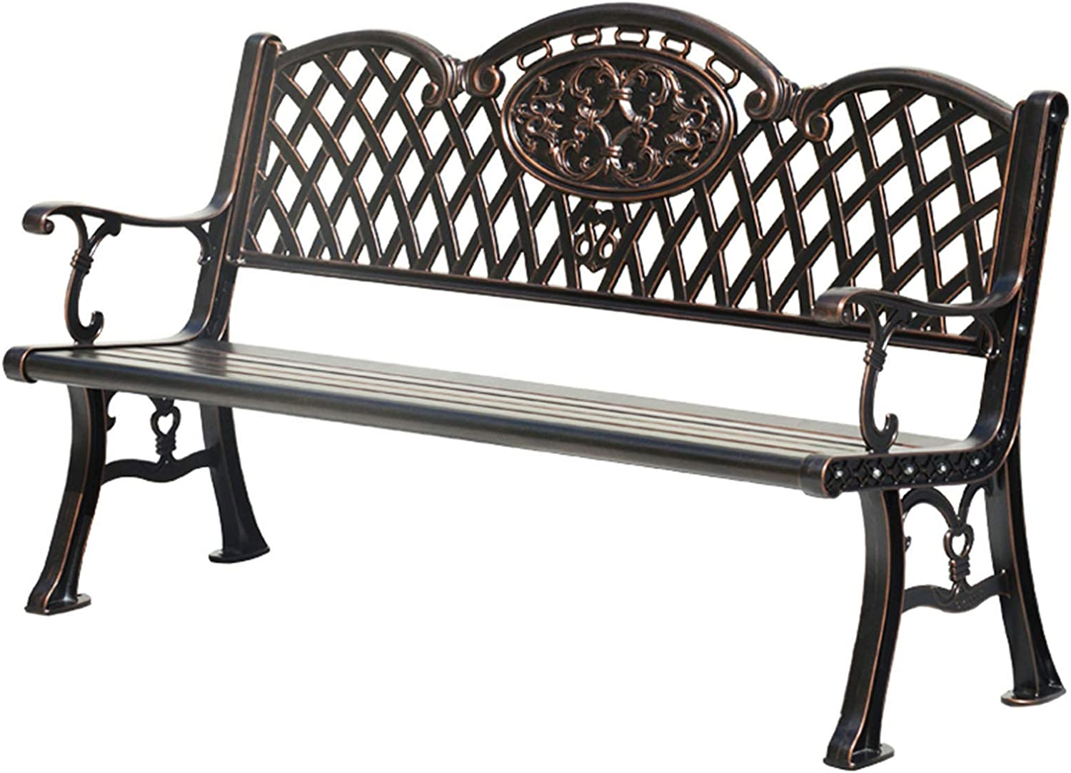 Outdoor Cast Aluminum Park Bench, Wrought Iron Hollow Leisure Backrest Garden Bench Seat, Balcony Terrace Anti-corrosion And Anti-rust Retro Bench With Armrests, Can Accommodate 2-3 People