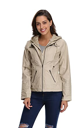 Amazon.com: zm Z.M Womens Hooded Removable Coat Fashionable Zipper Outerwear Detachable Faux Leather Moto Zip Jackets: Clothing