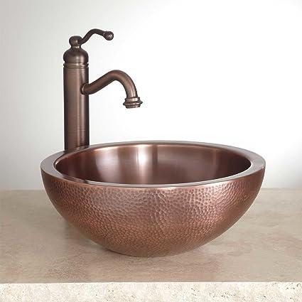 Gentil NEW 14u0026quot; Vessel Sink Casalina Double Wall Hammered Copper