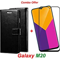 LIKE IT GRAB IT Samsung Galaxy M20 / Galaxy M20 (Combo Offer) Leather Dairy Flip Case Stand with Magnetic Closure & Card Holder Cover + 2.5D Curved Tempered Glass Screen Protector (Black Flip)
