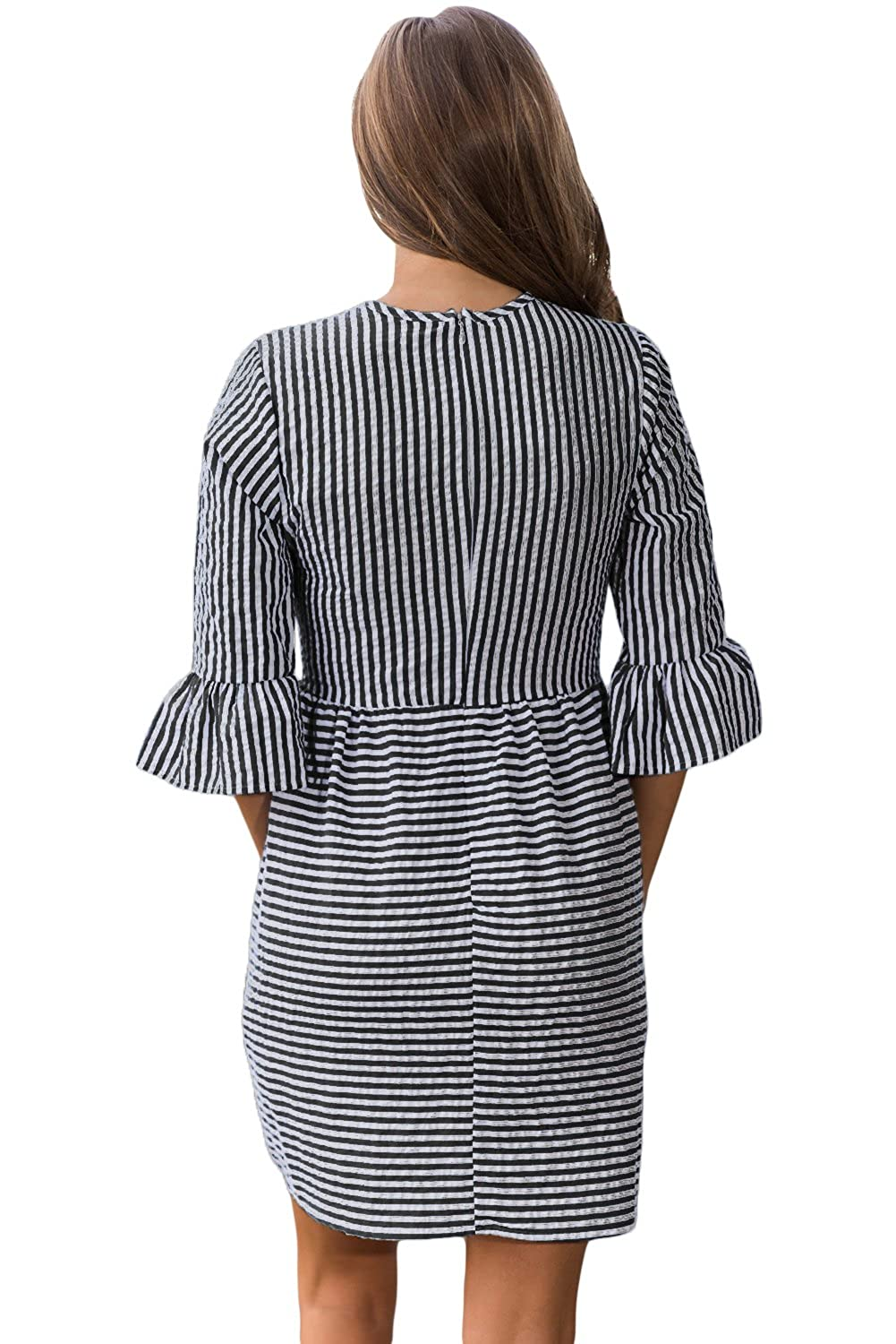 cd4c709e4ab Women s Summer Casual Stripe Flounce 3 4 Flounce Sleeve Round Neck Seersucker  Babydoll With Bell Sleeves Dress at Amazon Women s Clothing store