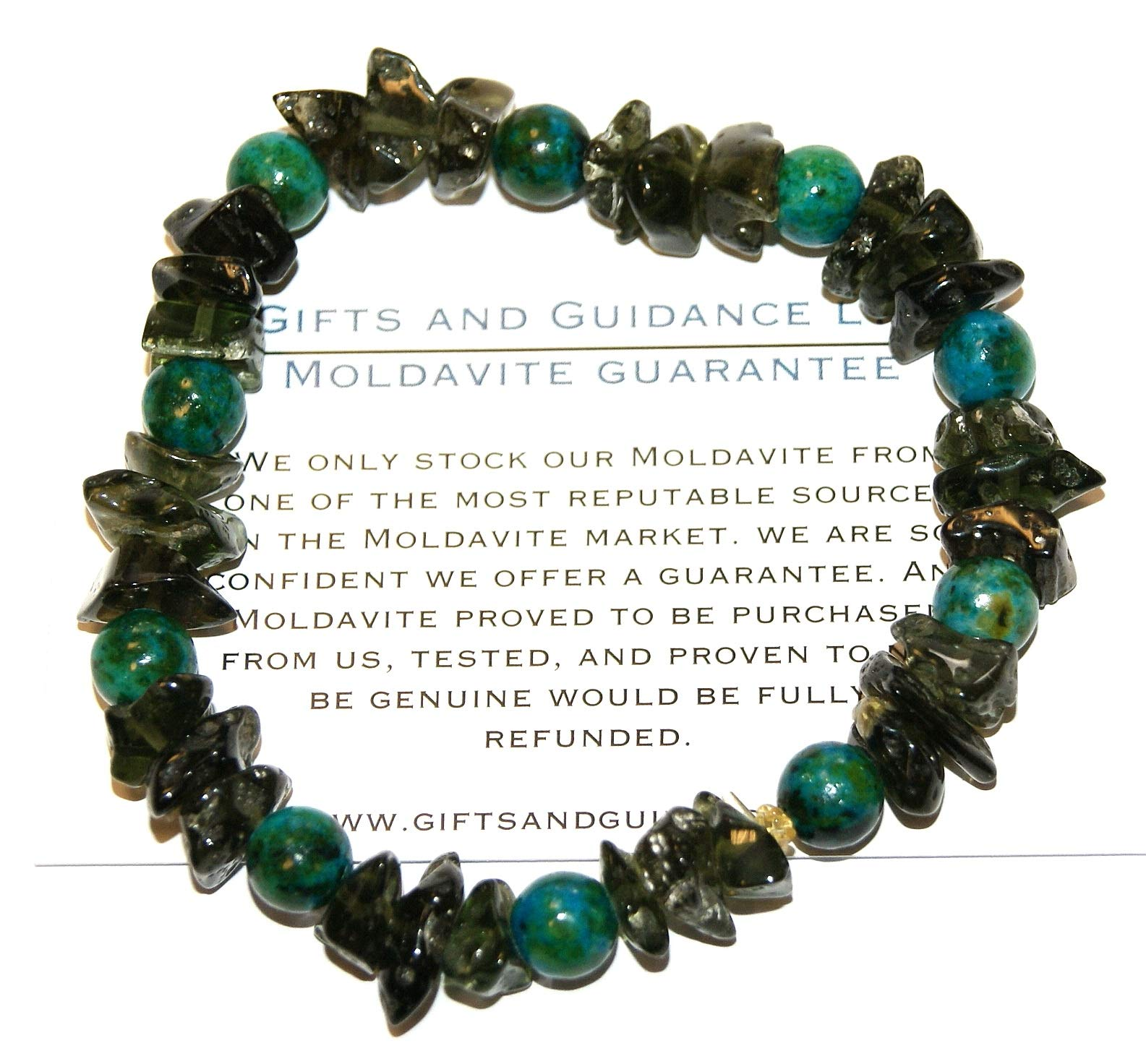 Moldavite and Eilat Bracelet High Vibration Crystals Polished 24 Grams by Gifts and Guidance