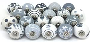 Artncraft Knobs Grey & White Cream Rare Hand Painted Ceramic Knobs Cabinet Drawer Pull Pulls (6 Knobs)