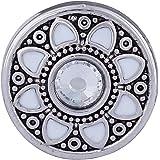 Morella Damen Click-Button Druckknopf Blumen Ornament mit weißem Zirkoniastein