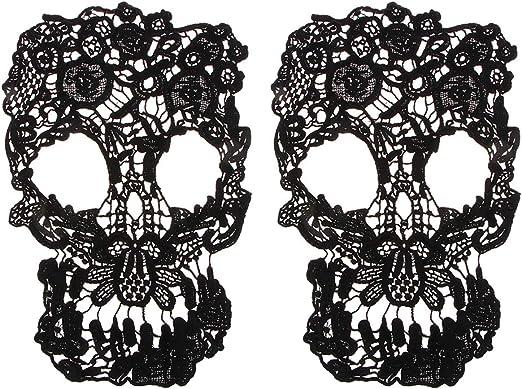 IPOTCH 2 piezas Parche de Calavera de Encaje Parche de Hierro Bolso Parches Decoraci/ón de Tela para Bricolaje