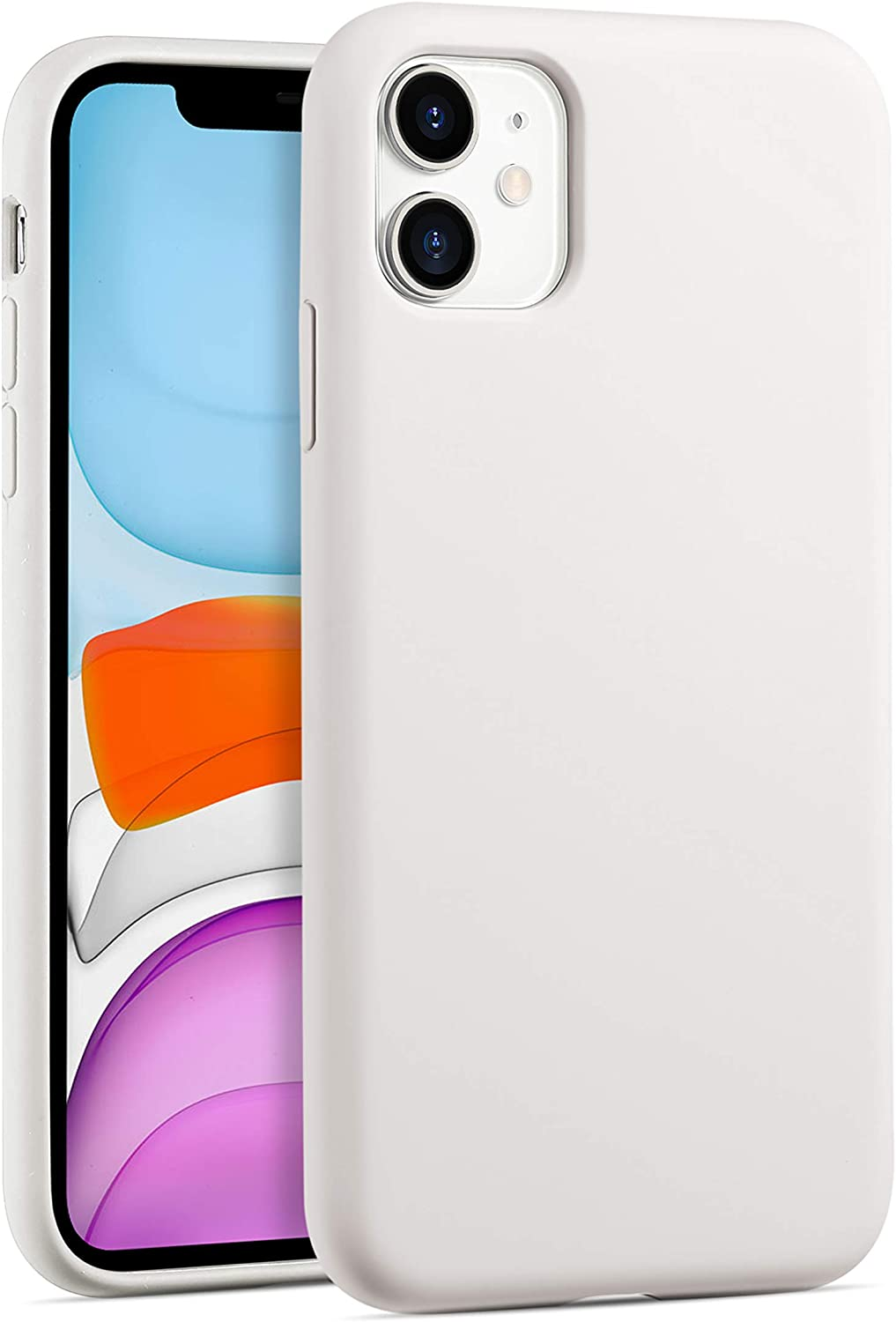 Nobranded Liquid Silicone Cell Phone Case for iPhone 11 with Full Body Shockproof Cover Drop Protection (Antique White)