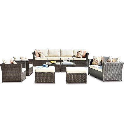 Amazon.com: ovios Juego de muebles de patio, sofá de patio ...