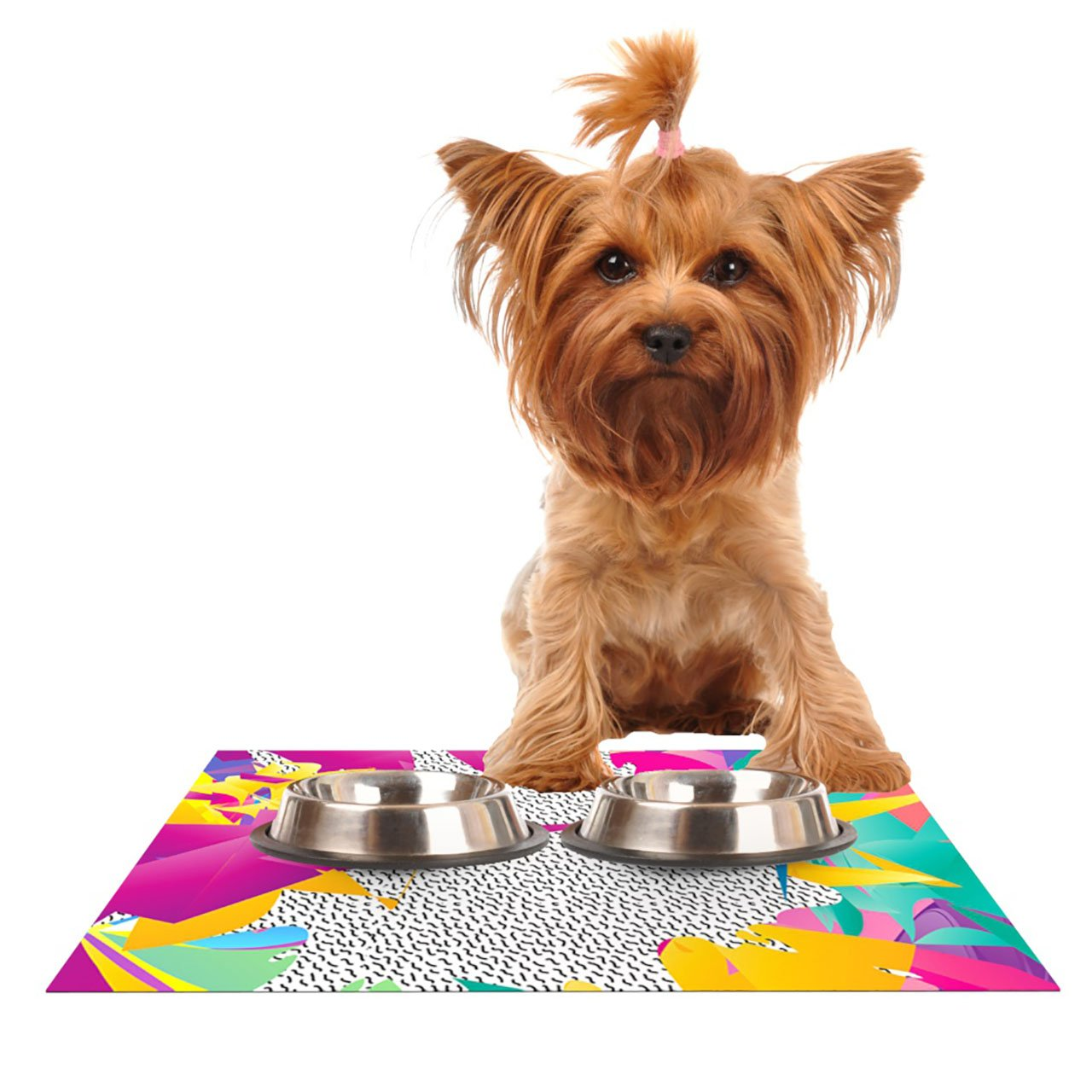 Kess InHouse Danny Ivan 80's Abstract  Pink Teal Pet Bowl Placemat, 18 by 13-Inch