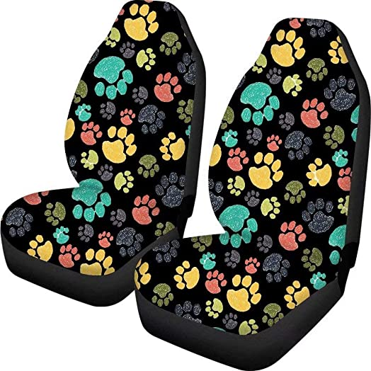 Advocator Colorful Dog Paw Print Car Seat Covers Front Seat Peotector Cover Case Full Coverage Set of 2 Universal Size Fits for Cars,Trucks SUVs