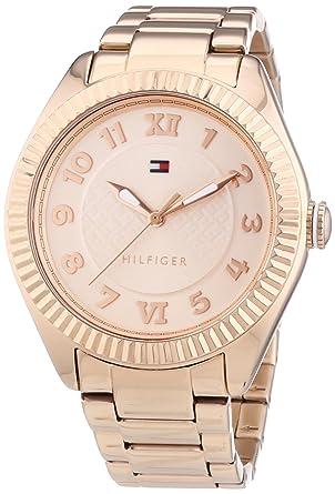 Tommy Hilfiger 1781344 - Reloj de cuarzo para mujer, correa de acero inoxidable chapado color oro rosa: Amazon.es: Relojes