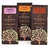 Godiva Chocolatier Assorted Ground Coffee Gift Bag, Set of 3, 10 Ounce