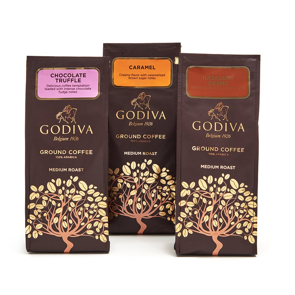 Godiva Chocolatier Ground Coffee Variety Set, 3 Flavors, Chocolate Truffle + Hazelnut Creme + Caramel, 30 Ounce