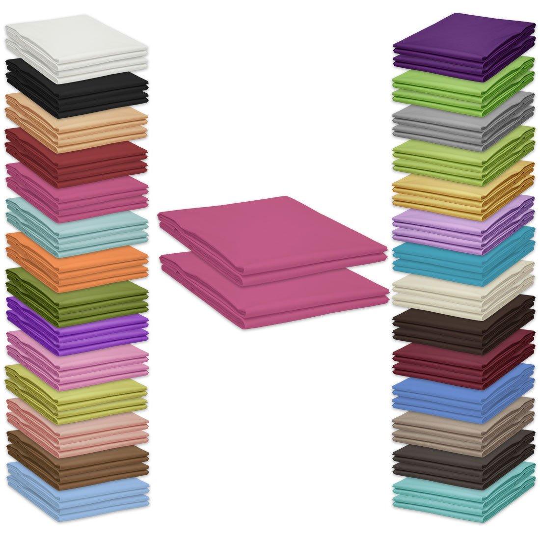 Qool24 Klassische Doppelpack Bettlaken 210x240cm zahlreiche Unifarben 100/% Baumwolle Betttuch zum unterstecken Pink 140x200cm /& 160x200cm