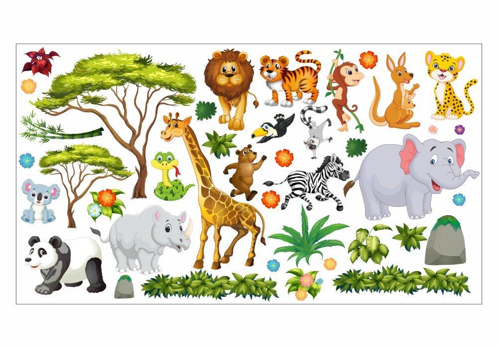 Nikima - 060 Wandtattoo Wanddekoration Dschungel Tiere Löwe Elefant Koala Panda Giraffe Zebra - in 6 Größen - Kinderzimmer Sticker Wandaufkleber niedliche Wandsticker Wanddeko Wandbild Junge Mädchen (2000 x 1120 mm)