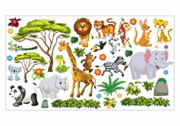 Nikima 060 Wandtattoo Wanddekoration Dschungel Tiere Lowe Elefant