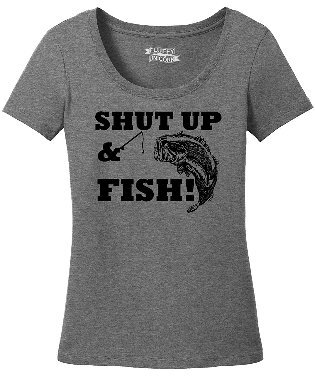 458164c4a Amazon.com: Comical Shirt Ladies Shut up & Fish Funny Country Song T Shirt  Fishing Scoop Tee: Clothing