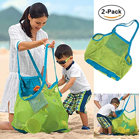 dd51f7a6f2 Image Unavailable. Image not available for. Color  2 Pieces Extra Large  Mesh Beach Bag Tote Backpack ...