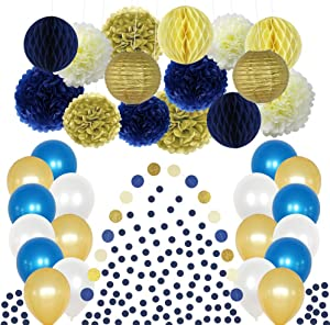 CHOTIKA Nautical Baby Shower Navy Blue Gold Cream Party Decorations Kit Tissue Pom Poms Honeycomb Lantern Balloons Garland for Birthday Bridal Retirement Anniversary