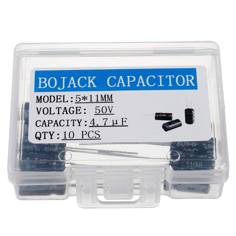 BOJACK 5X11mm 4.7uF 50V 4.7MFD 50Voltage /±20/% Aluminum Electrolytic Capacitors Pack of 10 Pcs