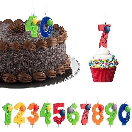 Lote de 10 Velas de cumpleaños con números y Globos, con ...