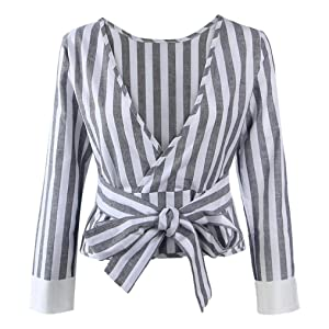 Gillberry Women Casual Cotton Long Sleeve Striped Loose Shirt Blouse Tops (XL, Gray)