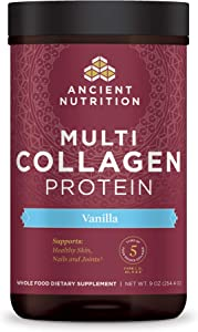 Ancient Nutrition Multi Collagen Protein Powder, Vanilla Flavor, Formulated by Dr. Josh Axe, 5 Types of Food Sourced Collagen, Supports Joints, Skin and Nails, Made Without Dairy or Gluten, 9oz