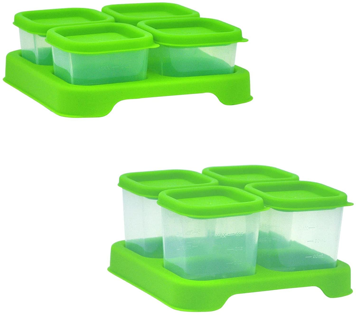Green Sprouts by i Play. Fresh Baby Food Unbreakable Cubes, Green, 2-4 Ounce, 2 Pack