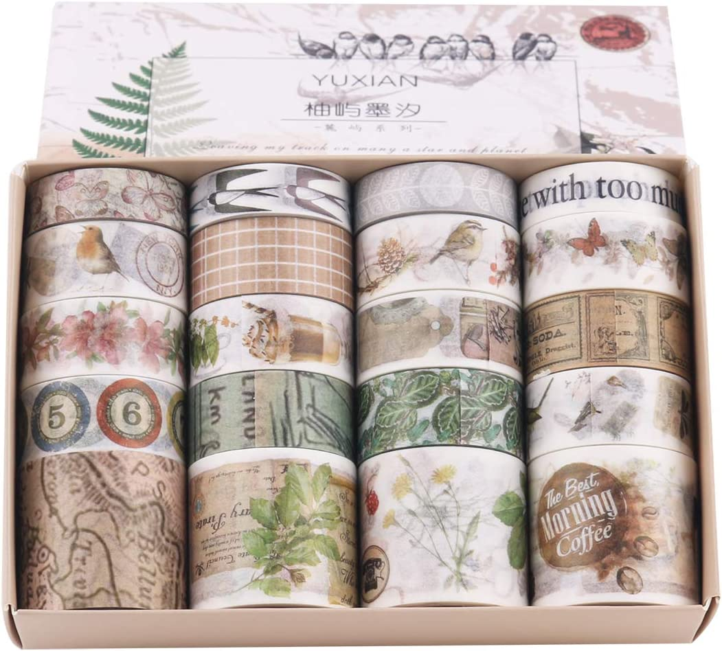 Lychii - Cinta adhesiva decorativa multipatrón para manualidades, diarios, planificadores diarios, envoltorios de regalos, suministros para fiestas de oficina (juego de 6)