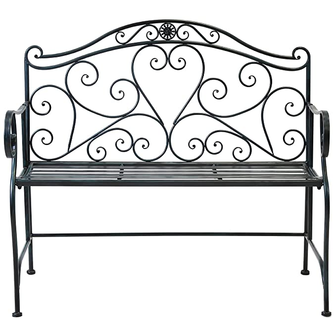 Fine Charles Bentley 2 Seater Wrought Iron Bench Metal Outdoor Seat Heart Shape Design Rust Proof Finish In Black Ibusinesslaw Wood Chair Design Ideas Ibusinesslaworg
