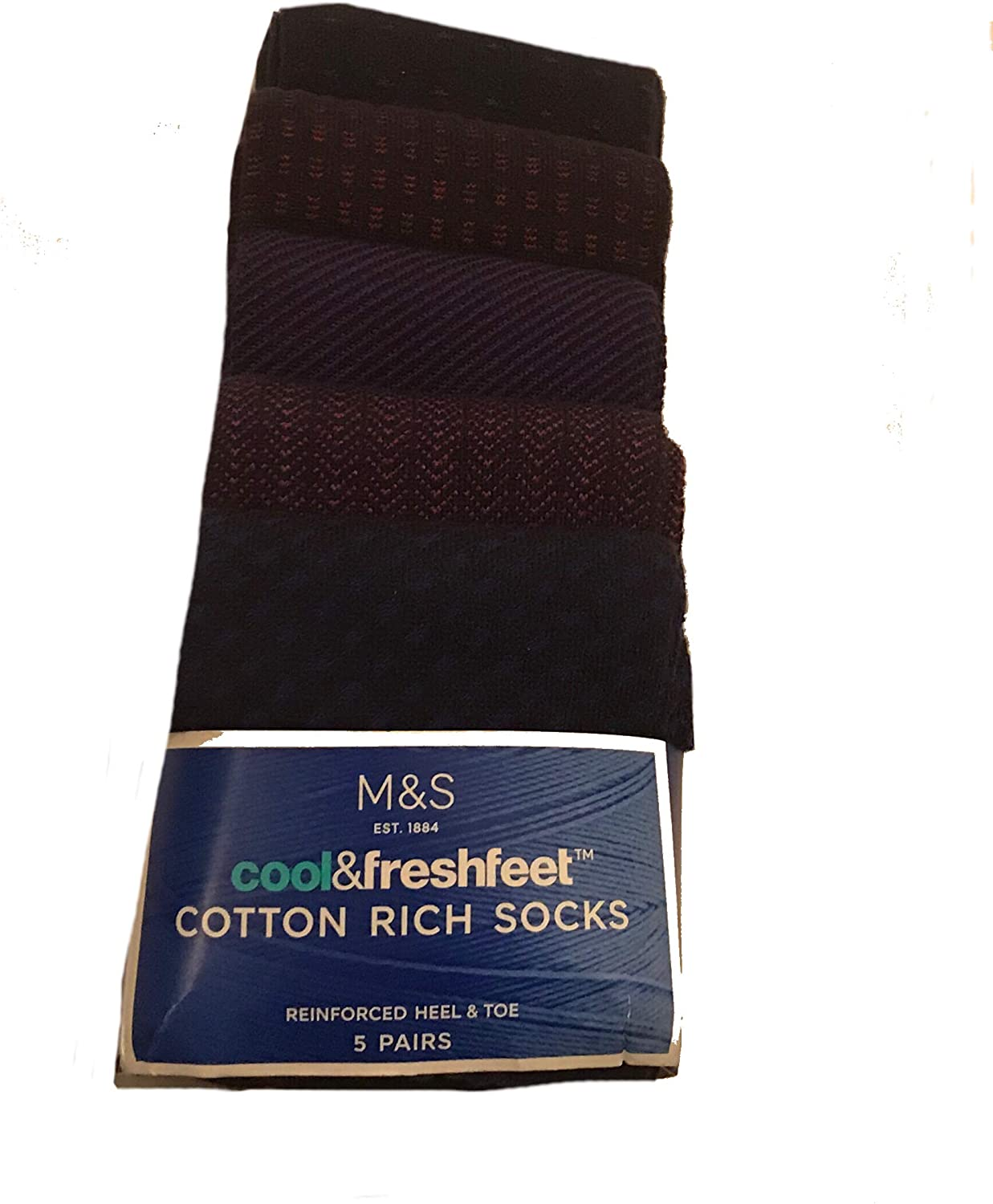M/&S MARKS AND SPENCER Men/'s Cotton Rich socks 5 PAIRS Black//Grey selection
