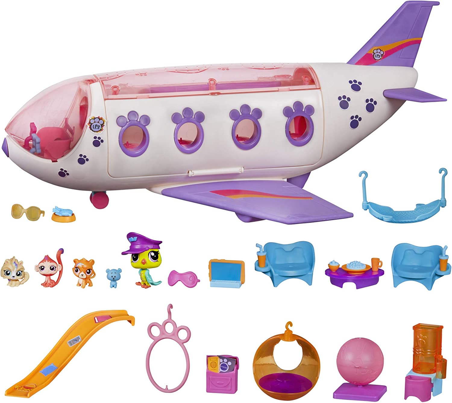 Littlest Pet Shop Pet Jet Playset Toy, Includes 4 Pets, Adult Assembly Required (No Tools Needed), Ages 4 and Up (Amazon Exclusive)
