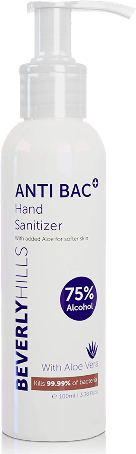 Beverly Hills Hand Sanitiser with 75% Alcohol and Aloe Vera Gel to Soften Skin (100ml/3.3oz size)