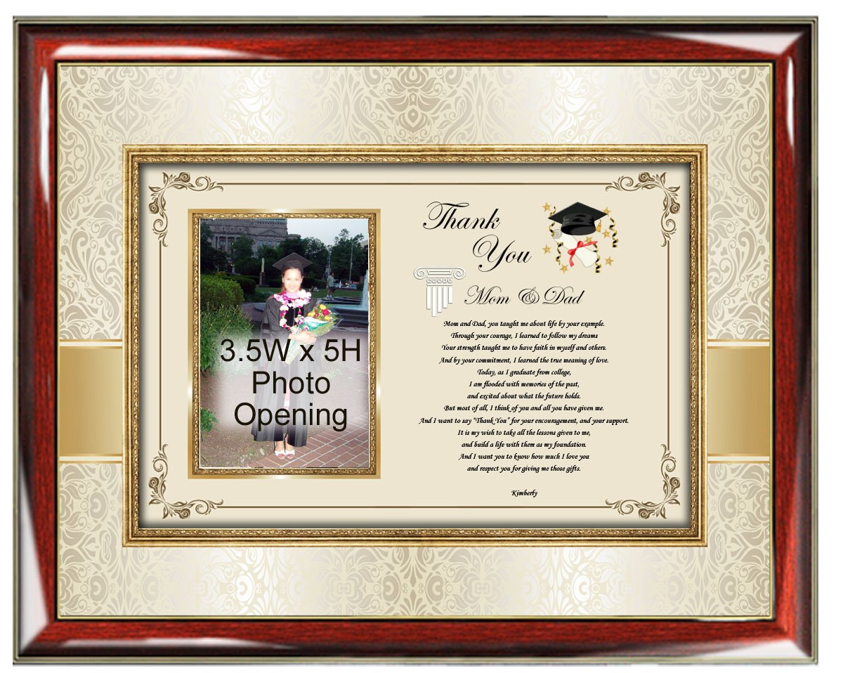 Thank you Gift to Parents or Friend from College Graduate Picture Frame Unique Present Wall Plaque Law School Medical School Business