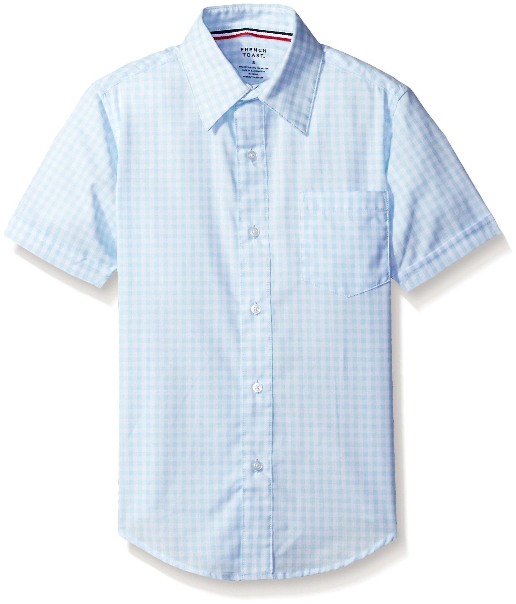 French Toast Big Boys' Short Sleeve Poplin Dress Shirt, Light Blue/White Gingham, 18