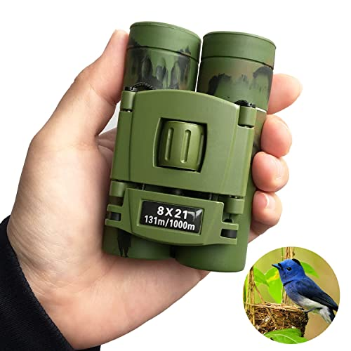 SUPRBIRD Kids Binoculars Compact for Bird Watching, 8x21 Mini Folding Pocket Adults Children Binoculars
