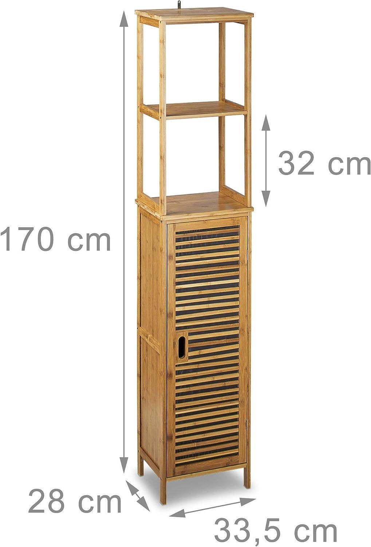 Scaffale e Armadio Marrone 5 Ripiani HxLxP: 170 x 33,5 x 28 cm Relaxdays 10020300 Mobile a Colonna per Bagno Bamb/ù