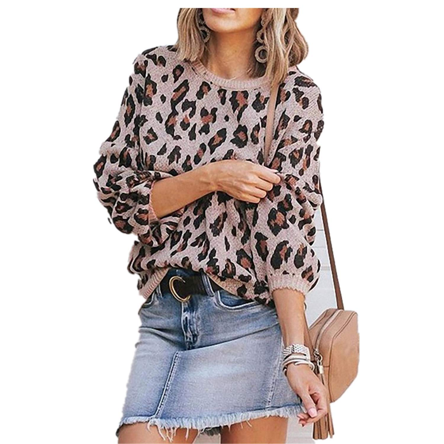 Womens Casual Leopard Printed Sweaters - Long Sleeve Sweatshirts Jumper Pullover Tops Knits Loose Blouse Pink by HiSunlyan