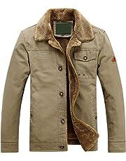 chouyatou Men's Outdoor Sports Button Front Sherpa Lined Trucker Jackets