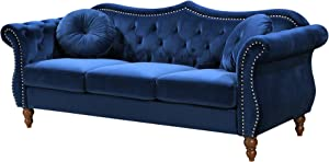 Container Furniture Direct Anna1 Velvet Upholstered Classic Nailhead Chesterfield Living Room, Sofa, Blue Mist