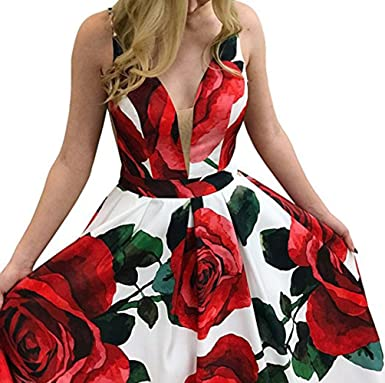 wildestdreamsbridal 2018 Womens Sexy V Neck Backless Floral Print Prom Dresses Long