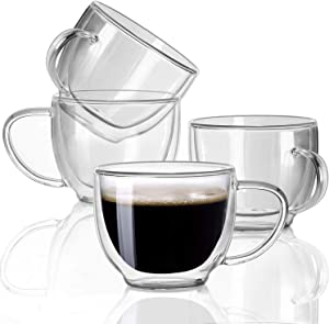 Double Wall Glass Expresso Coffee Mugs Set Of 4 (7 OZ / 200 ML) Insulted Clear Cappuccino Coffee Mugs Tea Cups