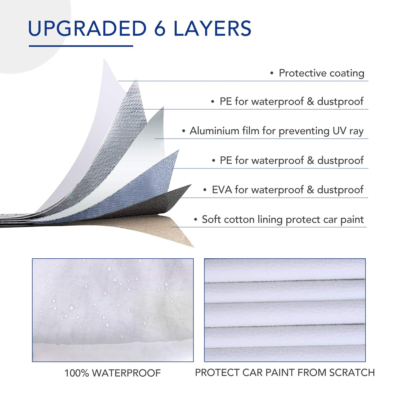 TWING Car Cover Universal Full Car Covers with Zipper Door 6 Layers All Weather Protection Waterproof Windproof Snowproof Dustproof Scratch Resistant UV Protection Car Reflective Strips Sedan Wagon