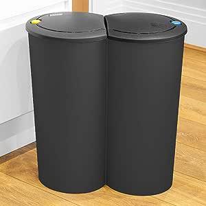 Color Negro URBNLIVING Papelera Doble de Reciclaje 2 x 25 L