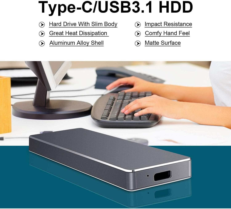 Laptop 1TB 2TB Portable Hard Drive External Hard Drive Compatible with Mac Ultra Slim Portable External Hard Drive 1TB, Silver PC