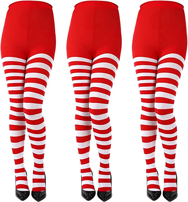 128c4192590 LOCOLO 3 Special Holiday Striped Socks Thigh High Stockings Pantyhose for  Themed Party Red White