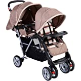 Costzon Double Stroller Infant Baby Pushchair Convenience Twin Seat (Grey)