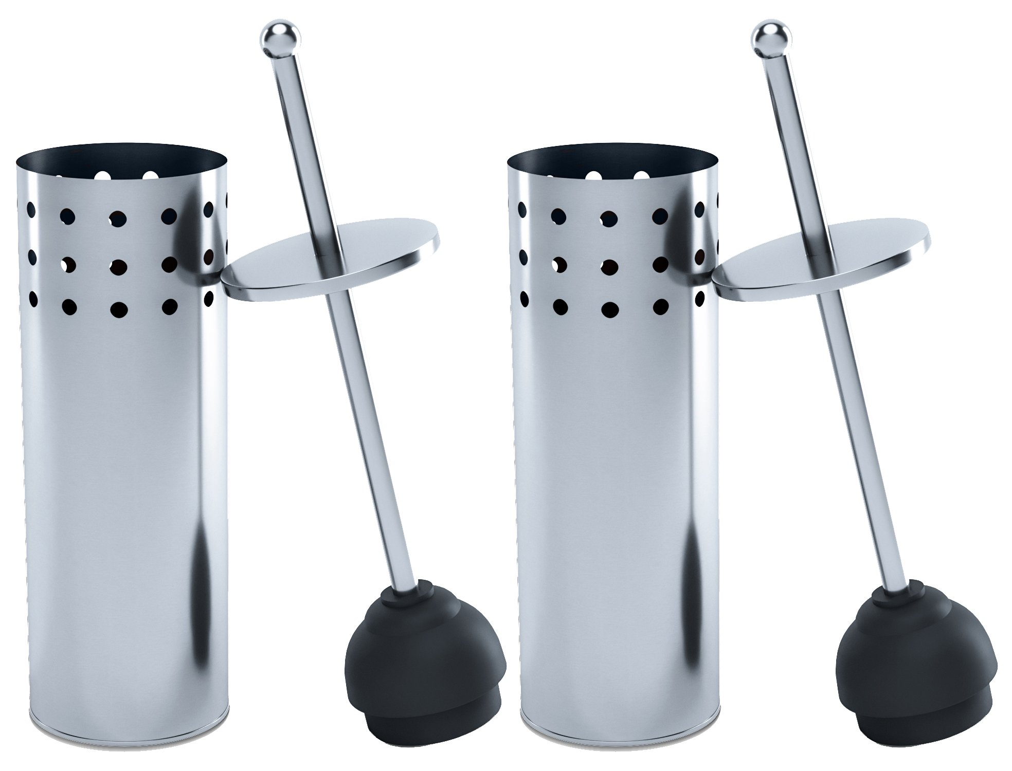 Home Intuition Stainless Steel Vented Toilet Plunger and Canister Holder Drip Cup, 2 Pack